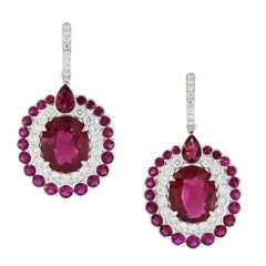 18 Karat Ruby Diamond Drop Earrings