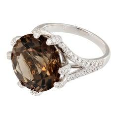 Smoky Quartz Diamond 18 Karat White Gold Cocktail Ring