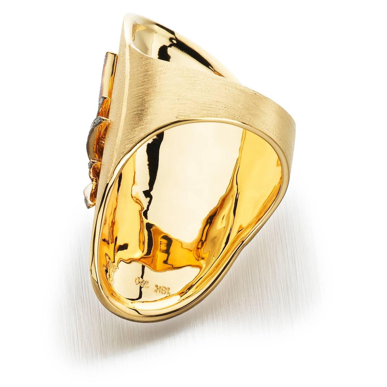 gold starburst cigar band ring for sale at 1stdibs