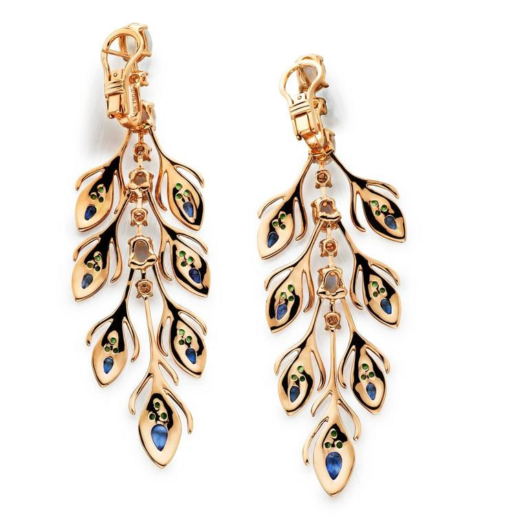 Garnet Sapphire Moonstone Diamond Gold Peacock Dangle Earring 2