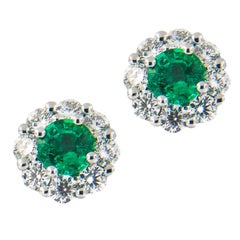 Emerald and Diamond Halo 14 Karat White Gold Stud Earrings