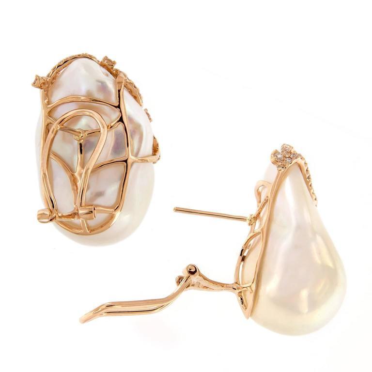 Baroque Pearl Diamond Earrings 3