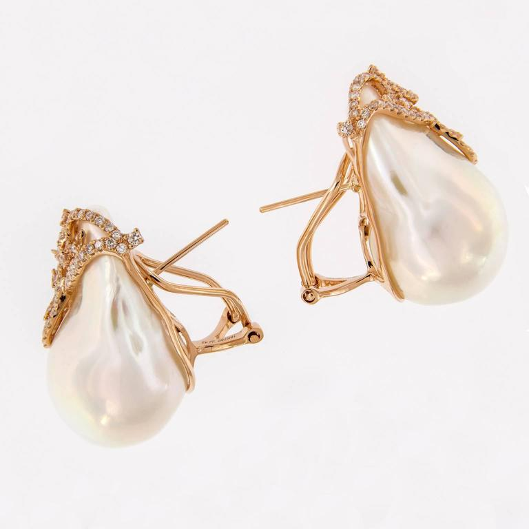 Baroque Pearl Diamond Earrings 2