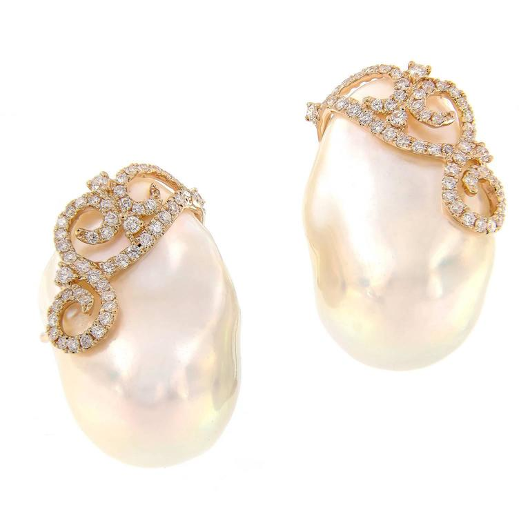 Baroque Pearl Diamond Earrings For