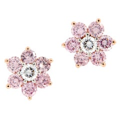 Alan Friedman Pink Diamond Floral Cluster Gold Platinum Earrings