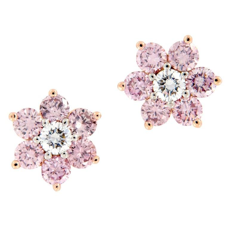 Alan Friedman Pink Diamond Floral Cluster Gold Platinum Earrings