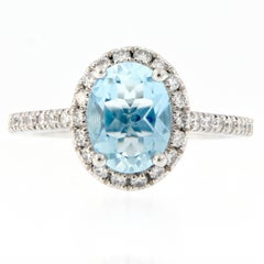 Oval Aquamarine Diamond Platinum Cocktail Ring