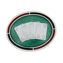 Sterling Silver Guilloche Enamel Playing Cards Cufflinks