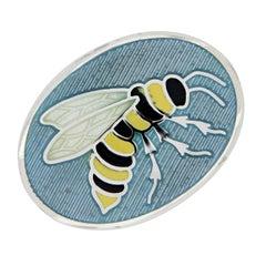 Sterling Silver Guilloche Enamel Wasp Cufflinks