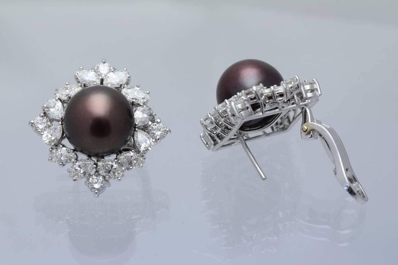 Black Pearl Diamond Platinum Earclips 2