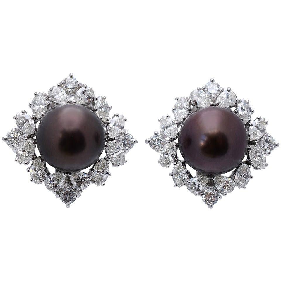 Black Pearl Diamond Platinum Earclips 1