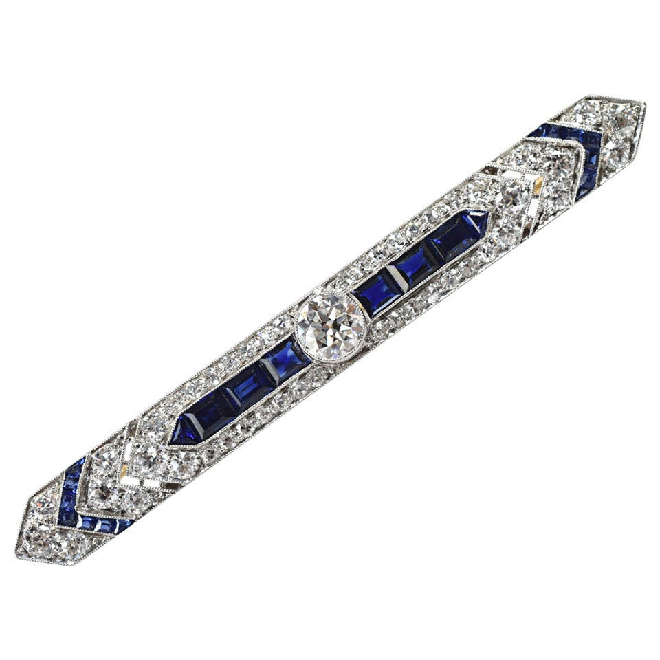 Art Deco Sapphire Diamond Gold Platinum Bar Pin