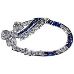 Art Deco Sapphire Diamond Platinum Brooch