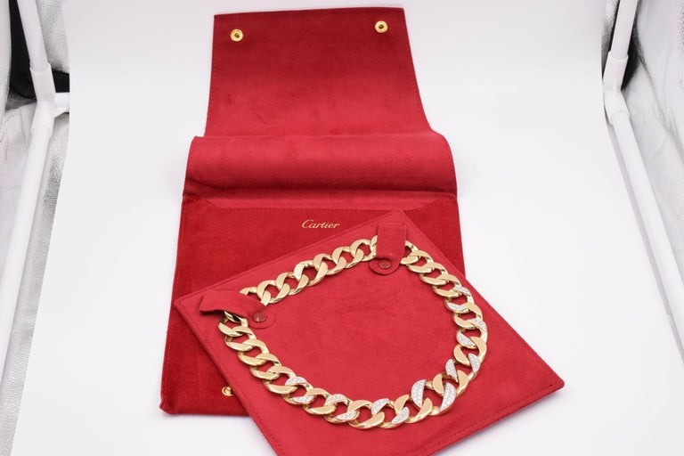 """Cartier yellow gold curb necklace with diamonds. The necklace is made in 14k yellow gold accented with 7 platinum topped links pave set with round brilliant cut diamonds. Total carat is approximately 3.00ct. The necklace is approximately 17.25"""""""