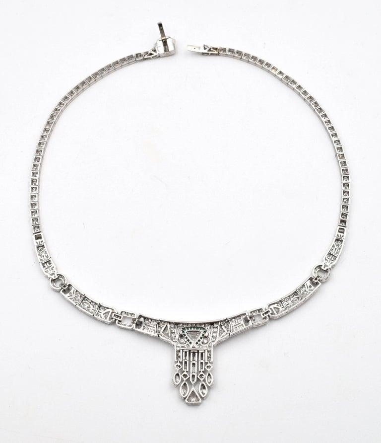 Old European Cut Art Deco Diamond Necklace For Sale