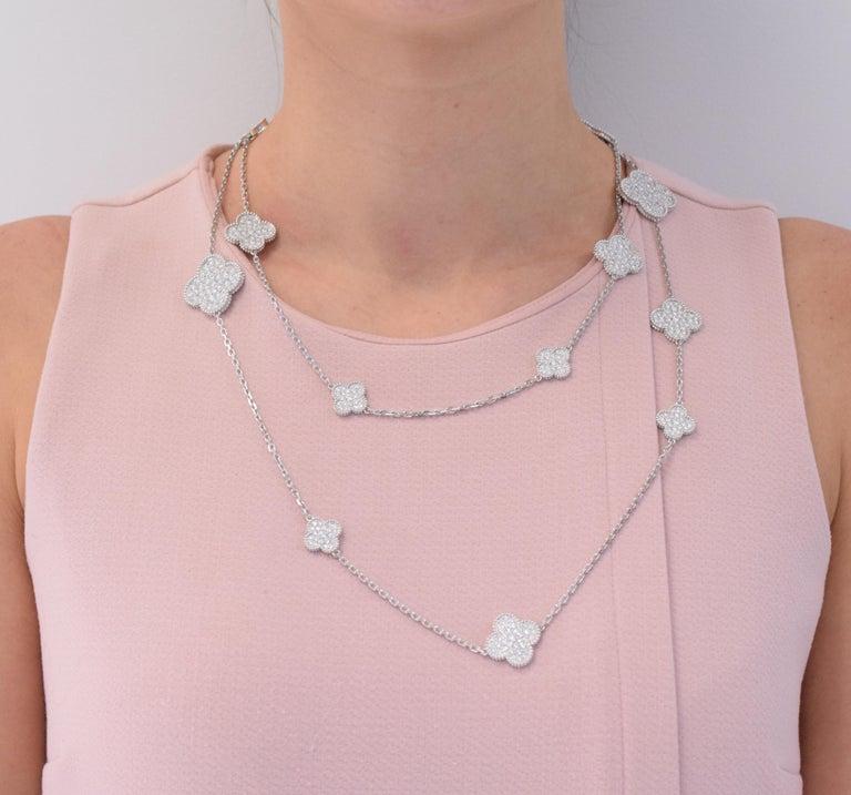 Round Cut Van Cleef & Arpels Diamond Magic Alhambra Necklace For Sale