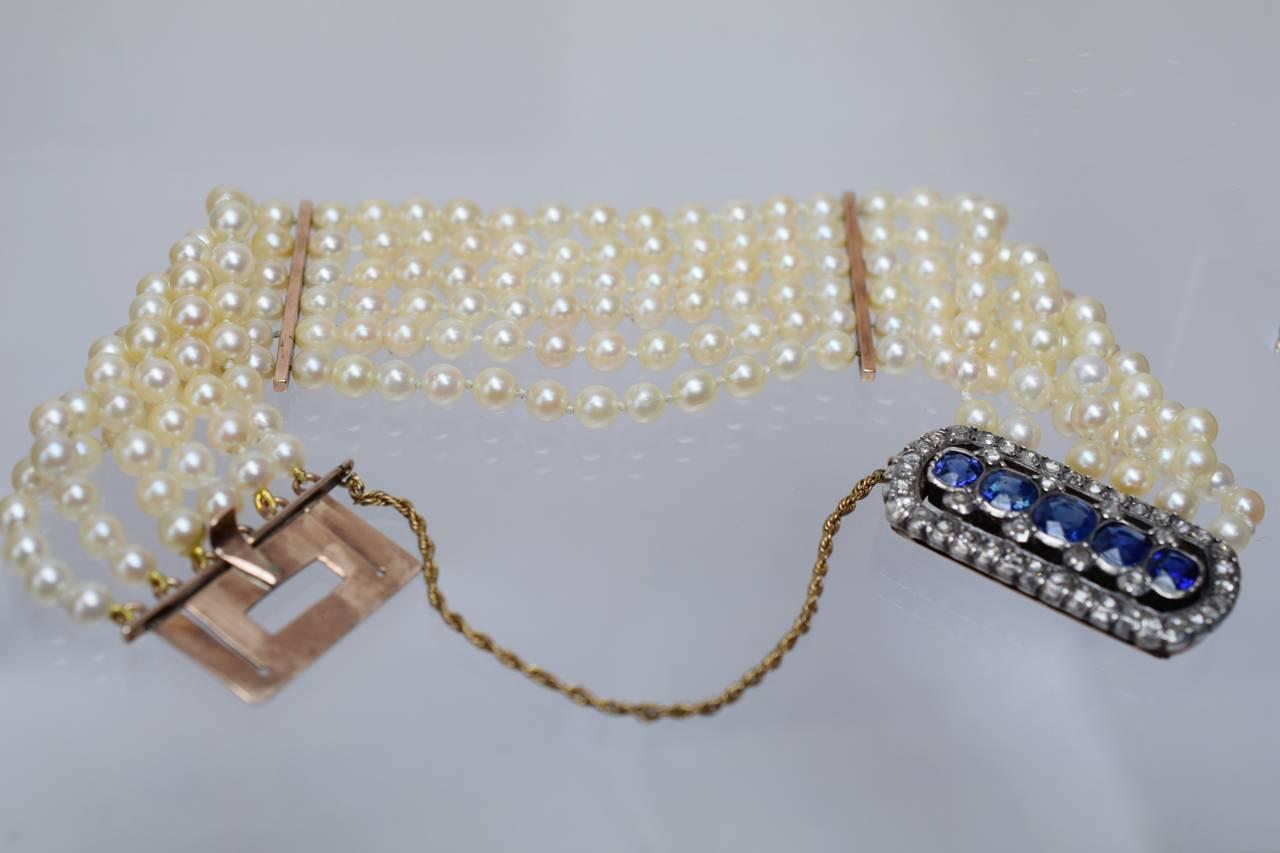 Victorian Pearl Sapphire Diamond Gold Bracelet 2