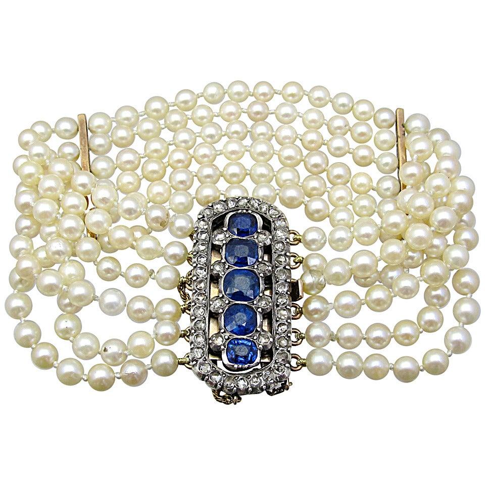 Victorian Pearl Sapphire Diamond Gold Bracelet 1