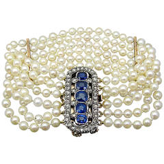 Victorian Pearl Sapphire Diamond Gold Bracelet