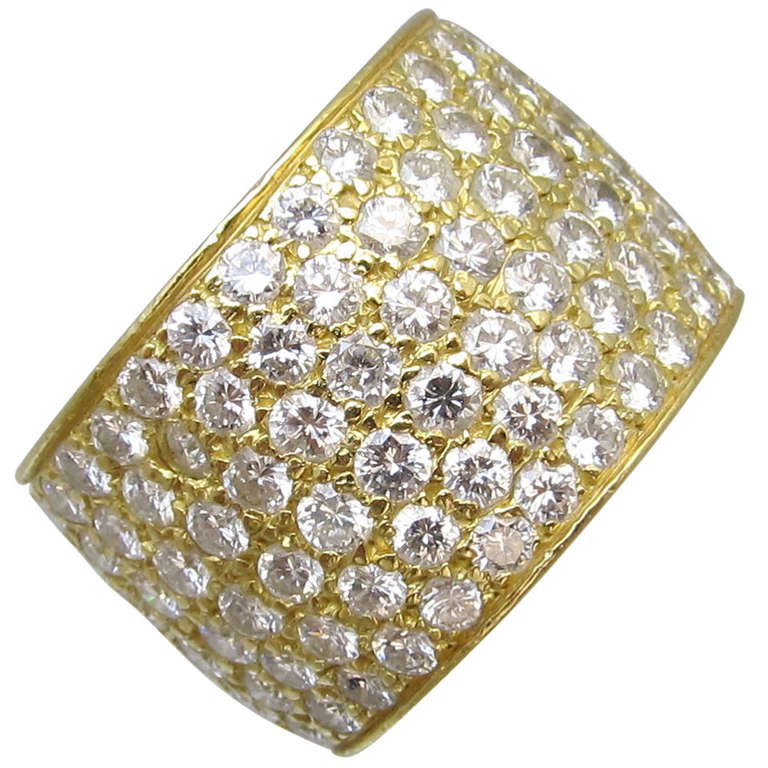 Van Cleef & Arpels Classic Wide Diamond Gold Band For Sale