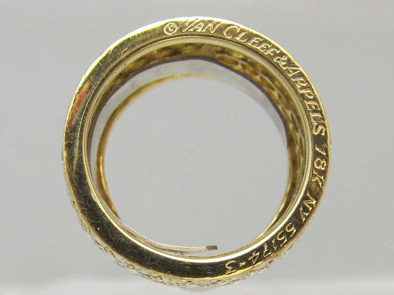 Van Cleef & Arpels Classic Wide Diamond Gold Band For Sale 3