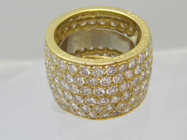 Van Cleef & Arpels Classic Wide Diamond Gold Band For Sale 1