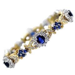 Sapphire Diamond Platinum Floral Motif Bracelet