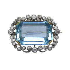 Art Deco  Aquamarine  and Diamond Brooch