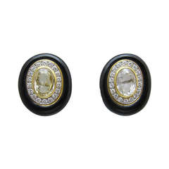 David Webb Yellow Sapphire and Black Enamel Ear Clips