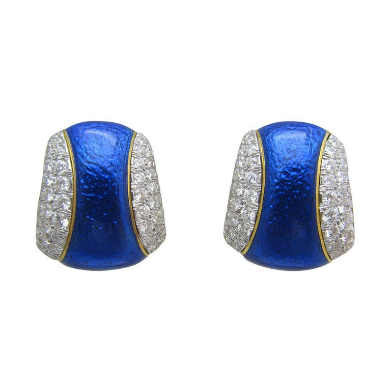 David Webb Blue Enamel and Diamond Clip Earrings