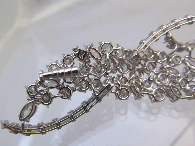 Artist Harry Winston Diamond Platinum Wave Brooch For Sale