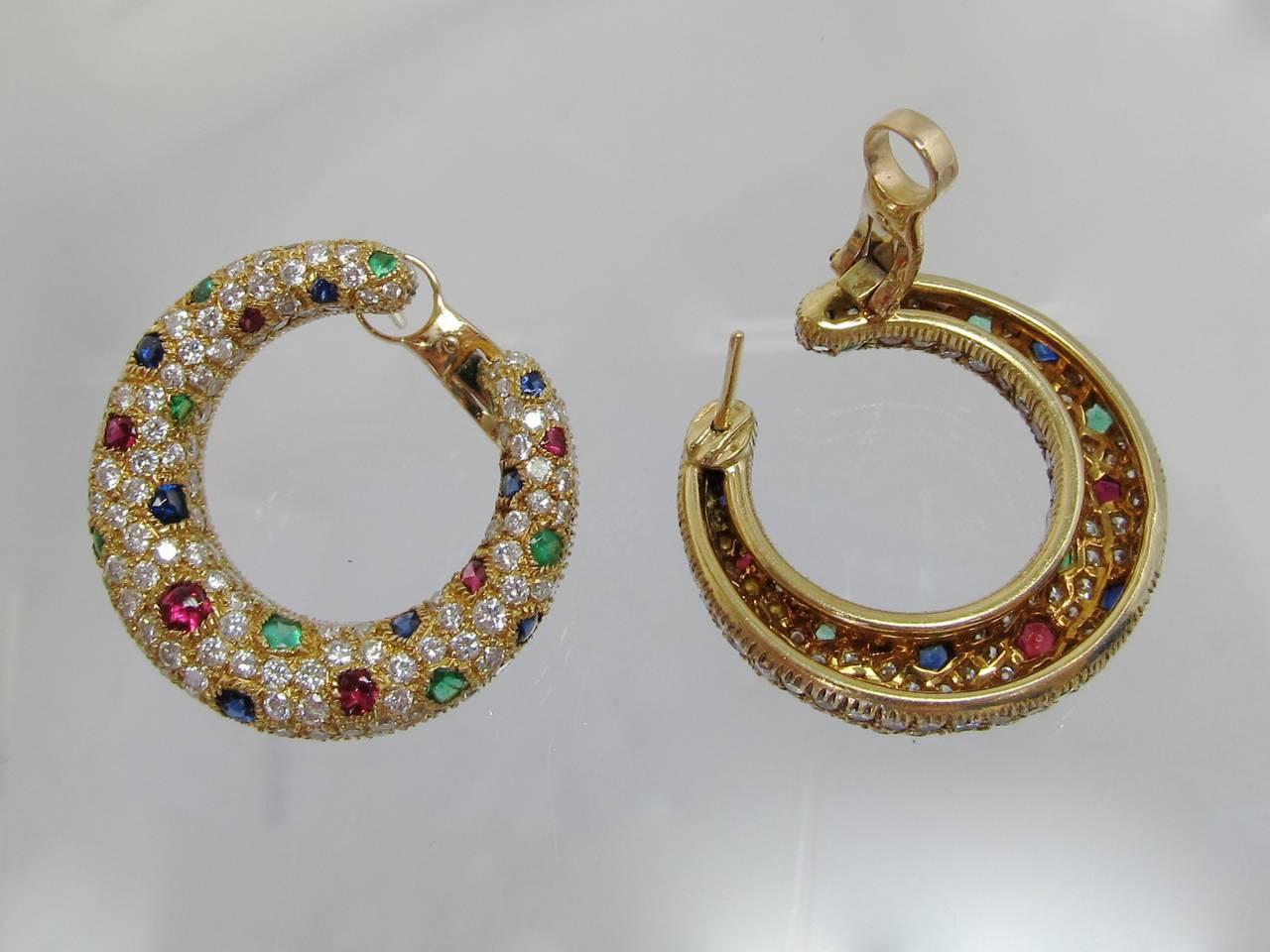 Cartier Panthere Diamond & Gemstone Creole Hoop Earrings 2