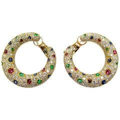 Cartier Panthere Diamond & Gemstone Creole Hoop Earrings