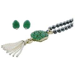 Cartier Green Chalcedony Hematite Sautoir and Earrings Set
