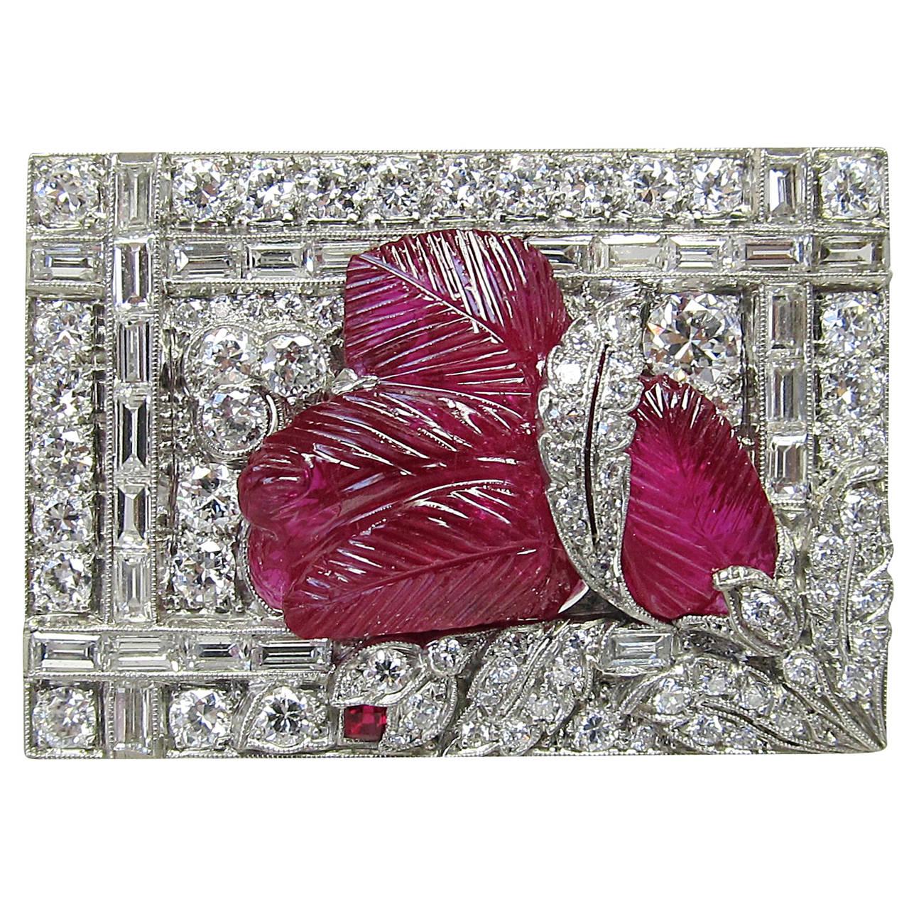 Art Deco Burmese No Enhancement Carved Ruby Diamond Brooch