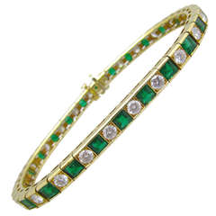Harry Winston Emerald Diamond Line Bracelet