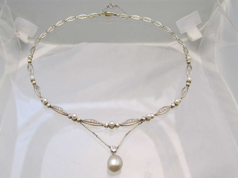 Art Deco Natural Pearl Diamond Necklace For Sale 2