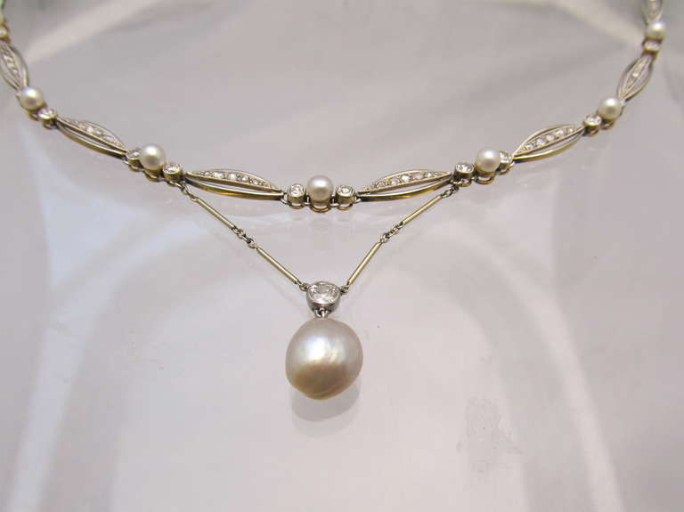 Art Deco Natural Pearl Diamond Necklace For Sale 1