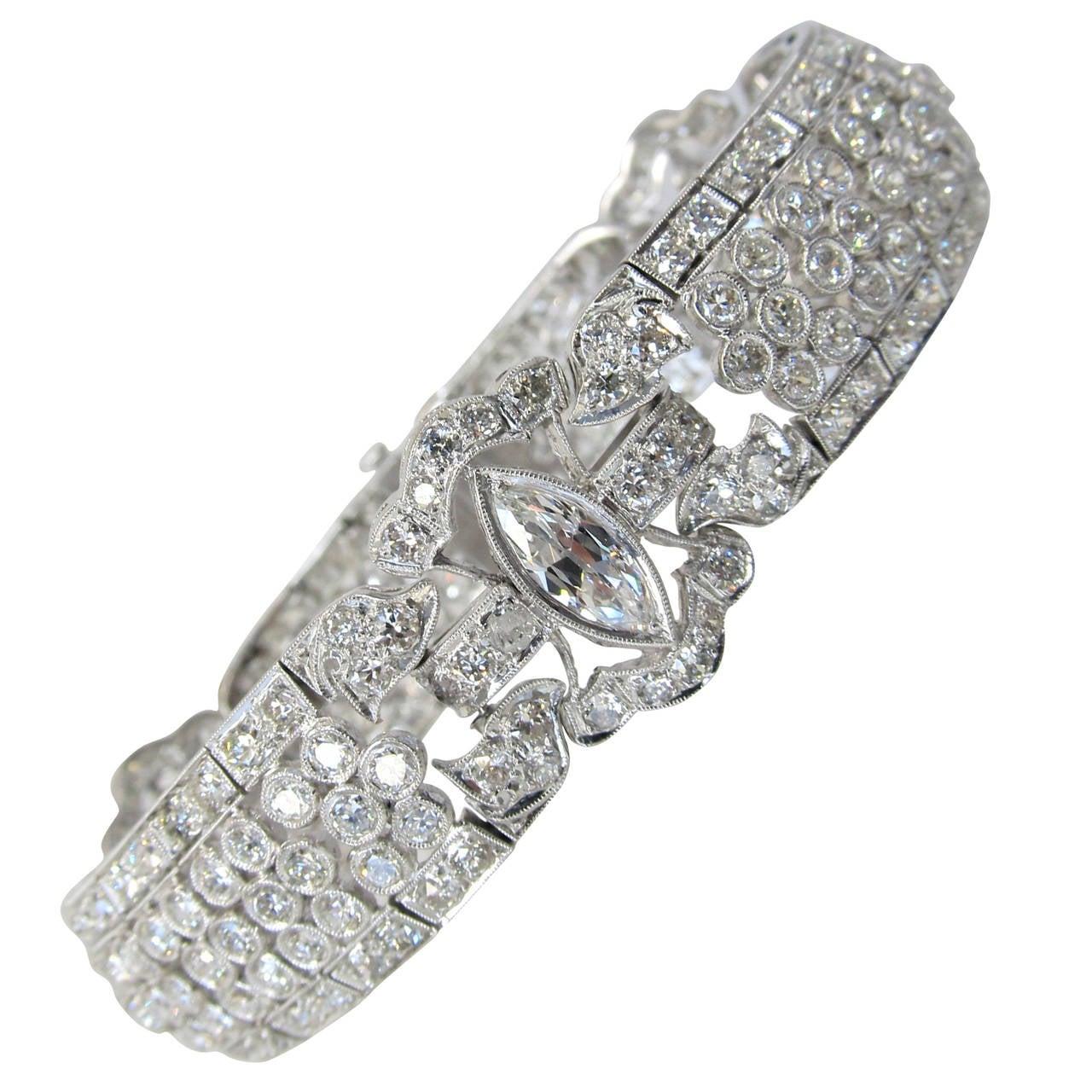 art deco diamond platinum link bracelet at 1stdibs
