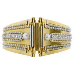 Boucheron Pearl Diamond Gold Scroll Design Bangle Bracelet