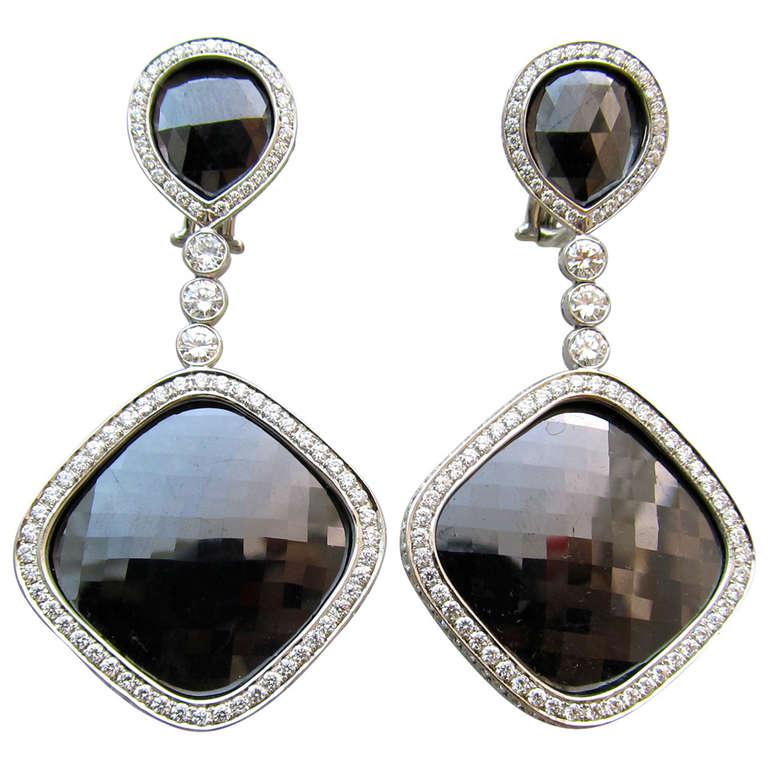Black Rose Cut Diamond Pendant Earrings