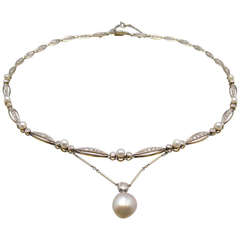 Art Deco Natural Pearl Diamond Necklace