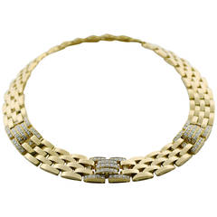 Cartier Maillon Panthere Five-Row Diamond Gold Necklace