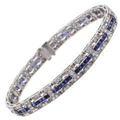 Diamond Sapphire Line Bracelet