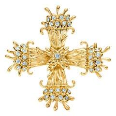 Tiffany & Co. Schlumberger Diamond Gold Cross