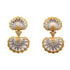 Mario Buccellati Diamond Gold Ear Clips