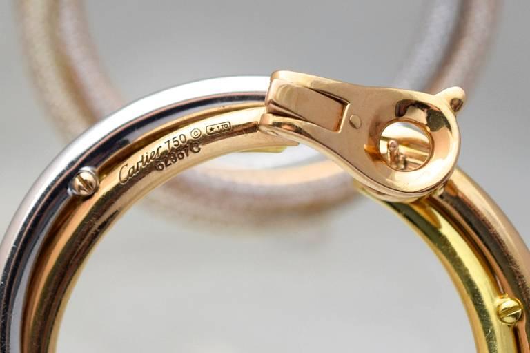 Artist Cartier Diamond Tricolor Gold Trinity Hoop Earrings