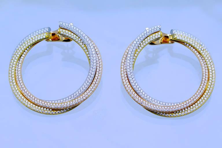 Women's Cartier Diamond Tricolor Gold Trinity Hoop Earrings