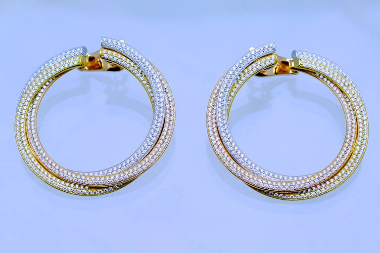 Cartier Diamond Tricolor Gold Trinity Hoop Earrings 1