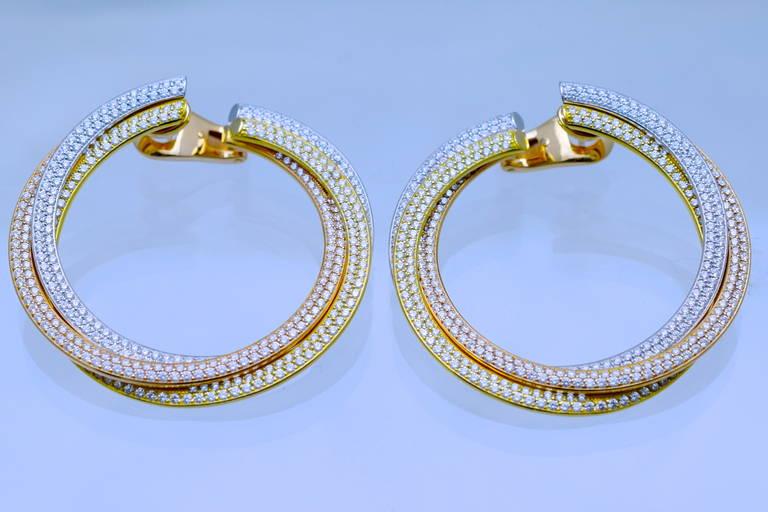 Cartier Diamond Tricolor Gold Trinity Hoop Earrings 2